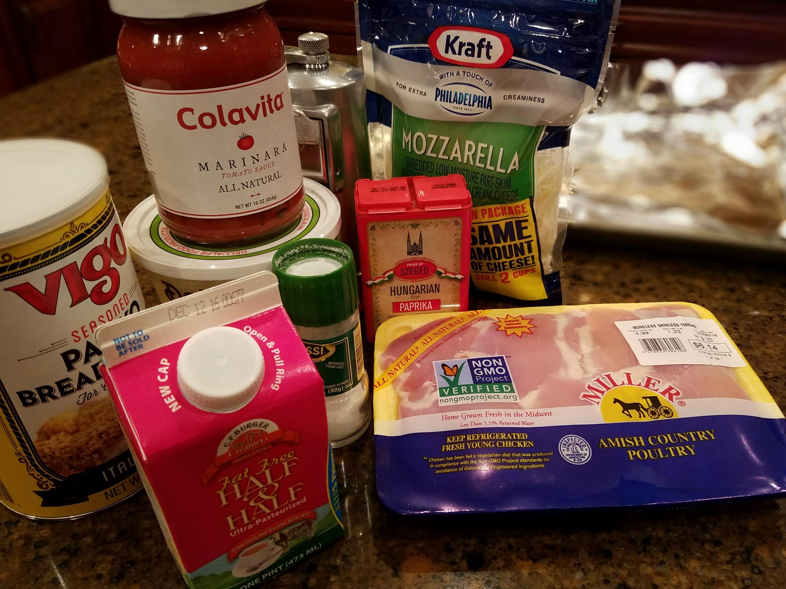 Chicken Parmasana ingredients