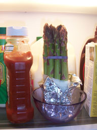 Asparagus in the refridgerator