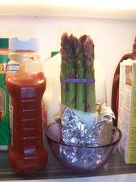Asparagus in the refridgerator