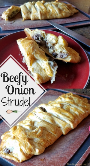 Beefy onion strudel recipe
