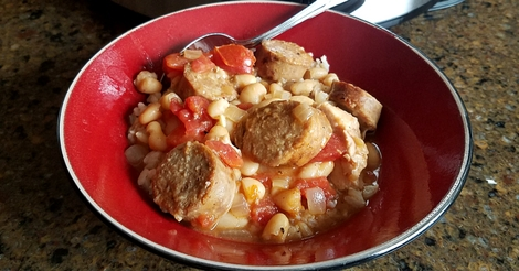 Chicken & Sausage Cassoulet Recipe using a slow cooker.