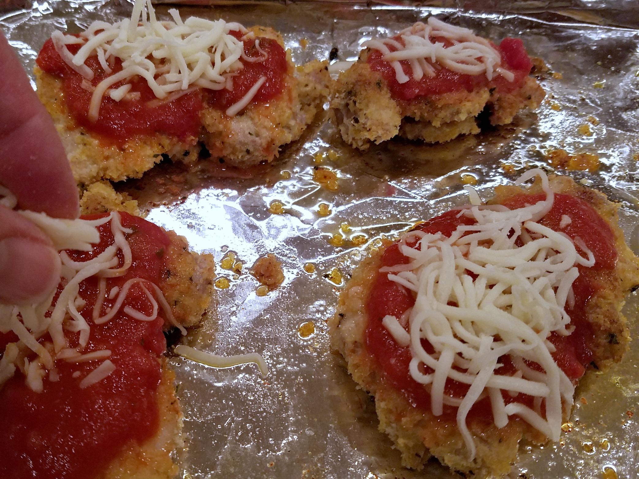 Chicken Parmasana prep work