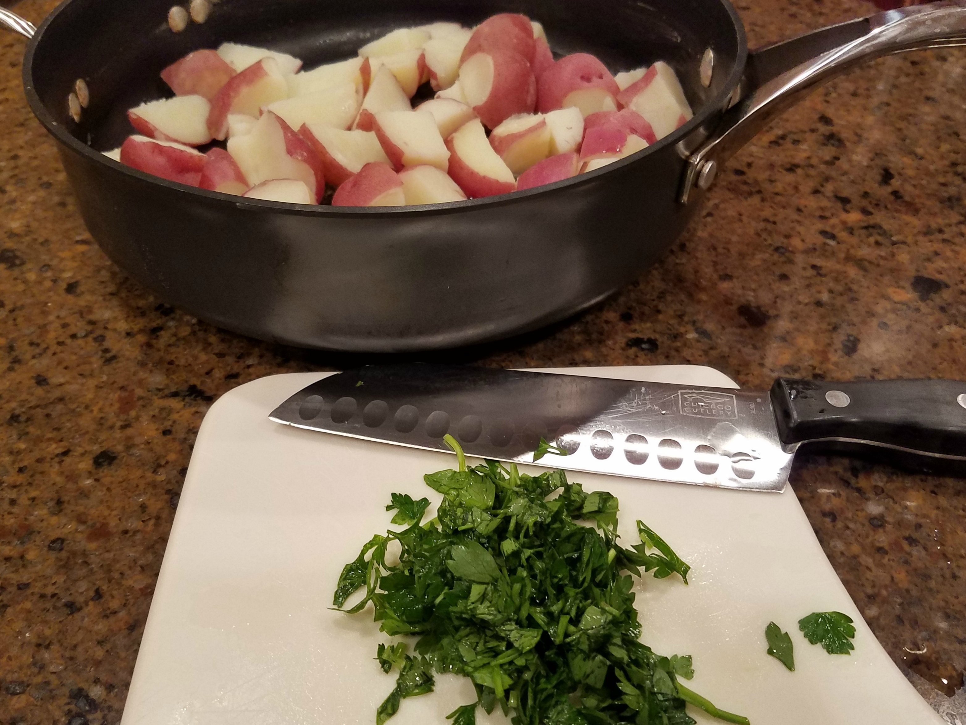 Parsley potatoes prep