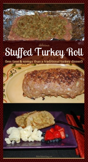 directions for making a stuffed turkey roll using ground turkey