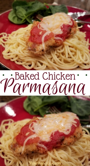 Baked chicken parmesan recipe. Bunch of other chicken recipes on this site too!