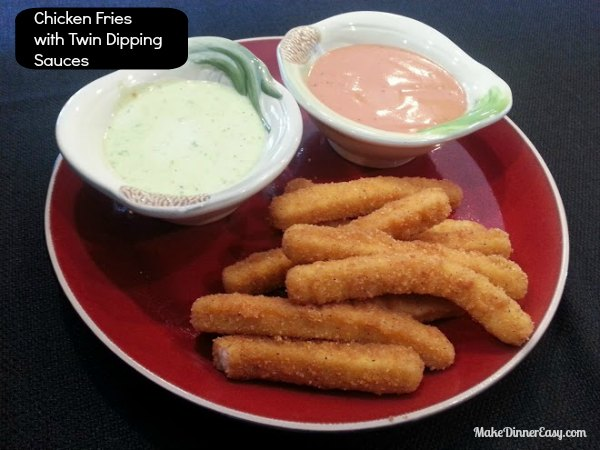 chicken fries with twin dipping sauces