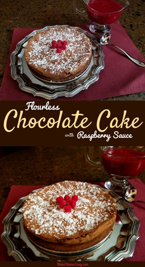 Flourless chocolate cake with raspberry sauce recipe