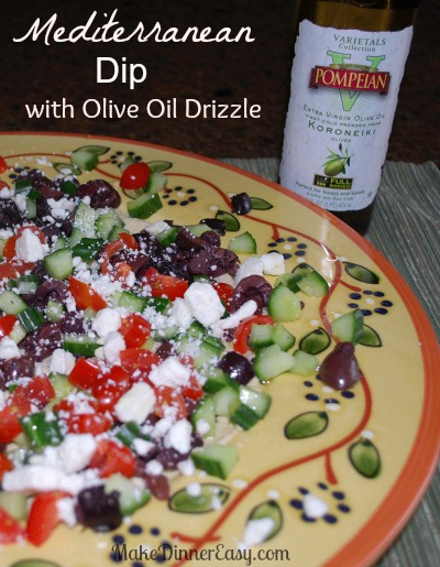 medeterranean dip with olive oil drizzle