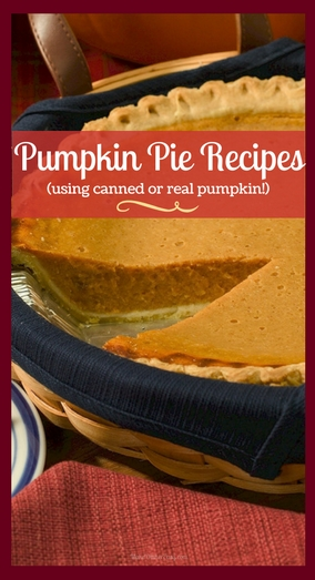 Pumpkin Pie Recipes using both canned or real pumpkin.