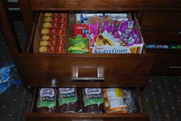 Food stored in hotel drawers